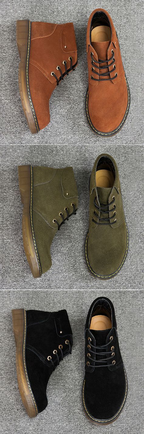 US$43.35#Men Large Size British Style Lace Up Wear-resistant Ankle Boots