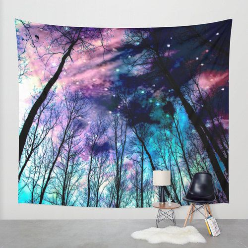 Wall Tapestry| Black Trees Pastel Space Tapestry| Pink Lavender Aqua|Galaxy  Tapestry|