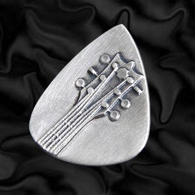 Embossed Head Stock Silver Plectrum   Embossed Silver Guitar Plectrums   Precious Plectrums