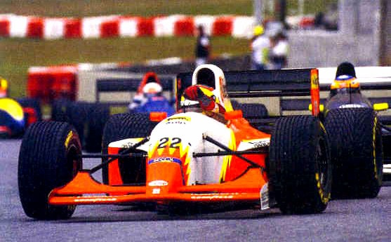 Luca Badoer driving a Lola 93/30 with a Ferrari V12 for Lola BMS Scuderia Italia at Interlagos for the Brazilian GP. He holds the all-time record for the most Grands Prix without ever scoring a point--58. This car gave him his best result, 7th at the San Marino GP, one place away from a point. He spent years as testing and reserve driver for Ferrari, but couldn't get good results when given Felipe Massa's seat during his recovery from the head injury caused by a heavy spring off another car.