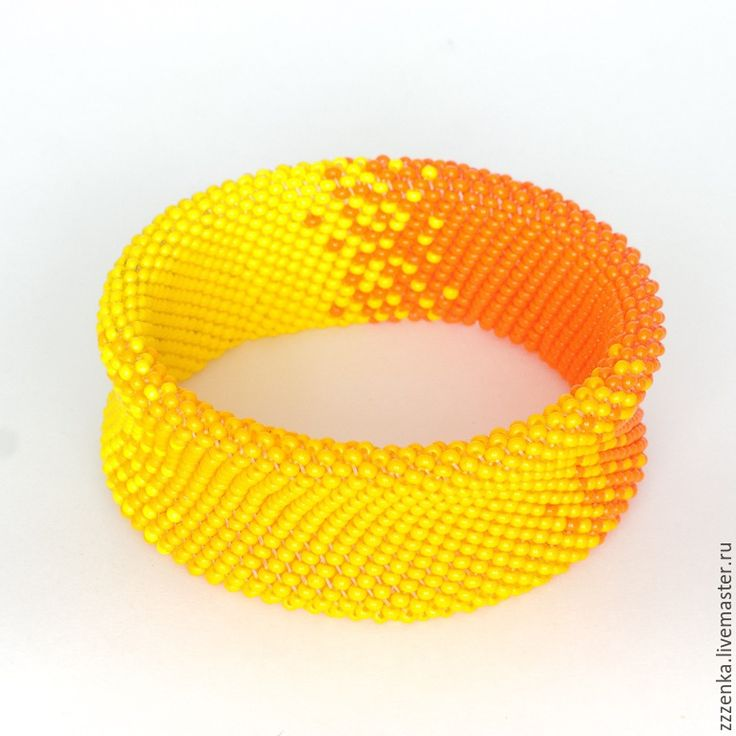 Купить Оранжевый браслет - оранжевый, желтый, апельсиновый, апельсин, солнечный, рыжий, широкий браслет, градиент
