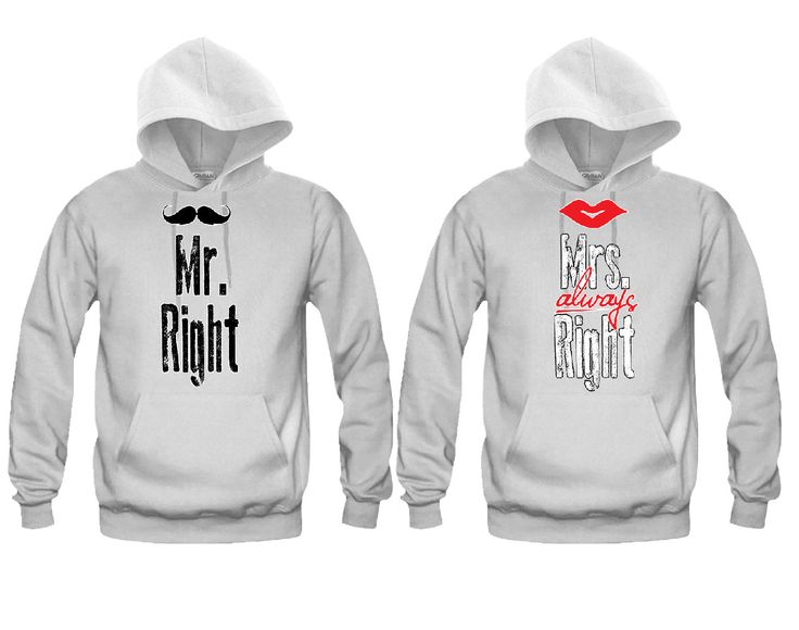 Mr.Right and Mrs. Always Right Unisex Couple Matching Hoodies