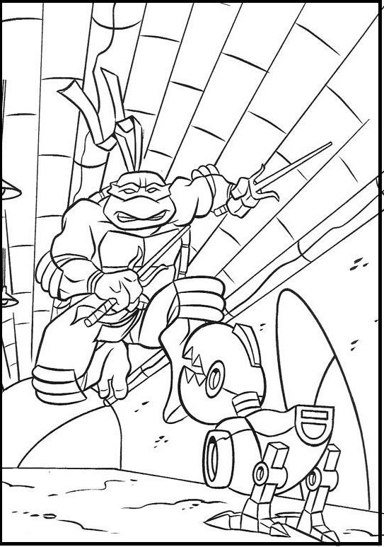 Raphael Attack Robot Dog Coloring Picture For Kids