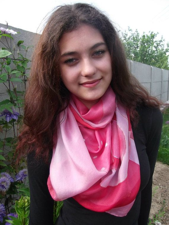 Hand painted silk scarfRed and mauveAbstract handmade by Aryonelle