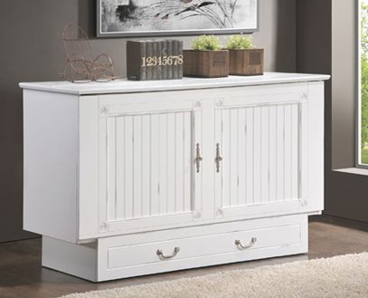 ITEM # WHITE 553-10 Murphy Bed Fu Chest Creden ZzZ Cottage Cabinet Bed CLOSED MEAS. 64'' W X 24.5'' D X 64'' H /// OPEN MEAS. 64''W X 83''D X 39'' H