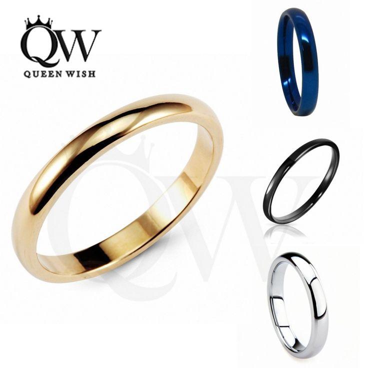 Queenwish 3mm wit/zwart/goud/blauw hardmetalen gepolijst classic wedding ring band koppels belofte ringen