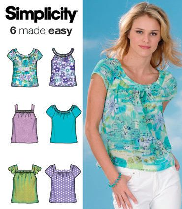 EASY PLUS SIZE Top Sewing Pattern - Six Tops 5 Sizes