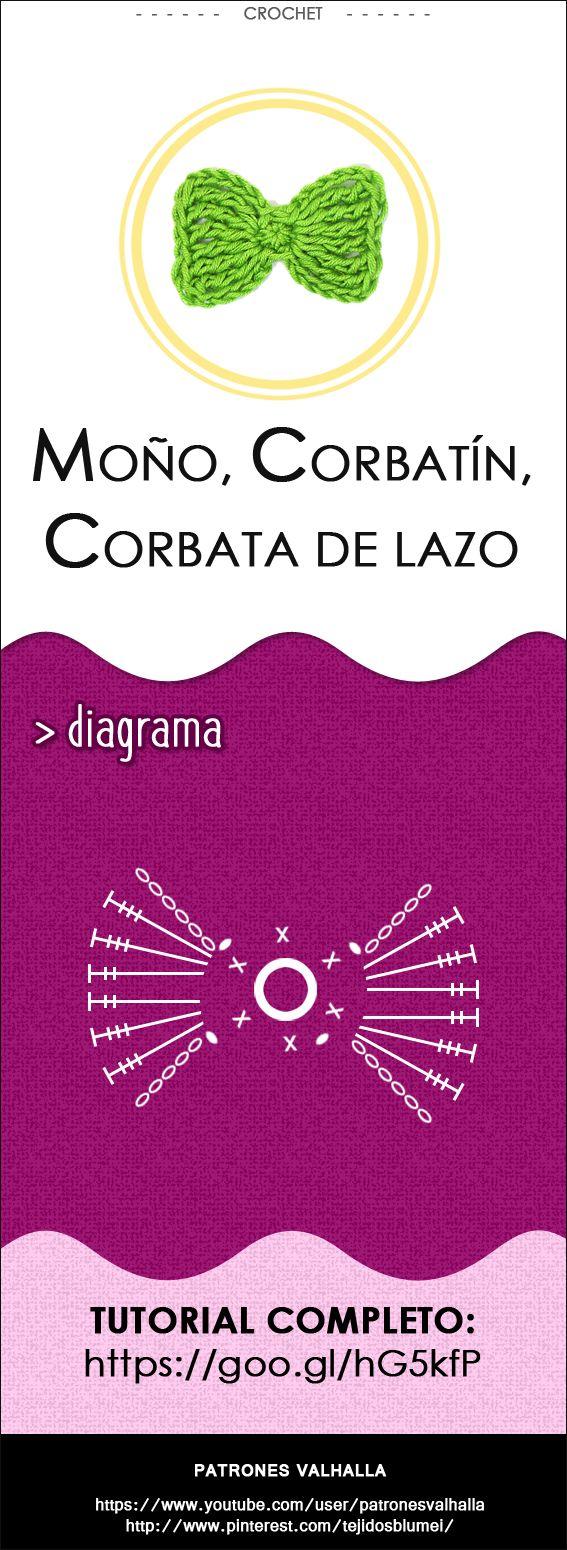 Corbata de Moño a Crochet | PATRONES VALHALLA // Patrones gratis de ganchillo