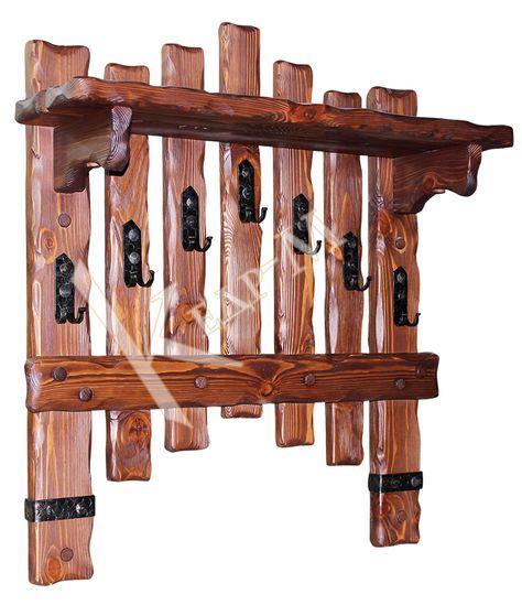 Вешалка настенная Добряк с элементами ковки - деревянная мебель под старину Кедр-М.
