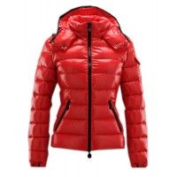 Moncler Bady Winter Zip Hooded Jacket Women Down Red