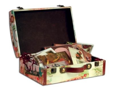 """Created exclusively for Victorian Papers, this sturdy suitcase secures the safekeeping of all-occasion cards and stationery. This keepsake box will arrive with a beautiful assortment of correspondence cards within. An assortment of stationery, letterhead, greeting cards, thank you cards, notecards, labels and a delightful sticker assortment. 14 x 5 x 9""""."""