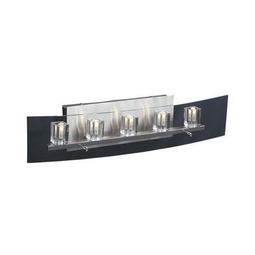 Modern Bathroom Light with Clear Glass in Satin Nickel Finish at Destination Lighting