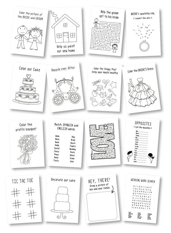 personalized kids wedding activity books with crayons this listing is for 6 - Kids Activity Book Printable