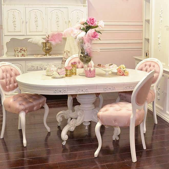 pink and white romantic dining room