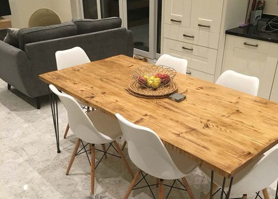Vintage Hairpin Leg Kitchen Table Rustic Reclaimed Industrial Hairpin Legs Dining  Table Handmade In UK Official Wimbledon 2017 Supplier