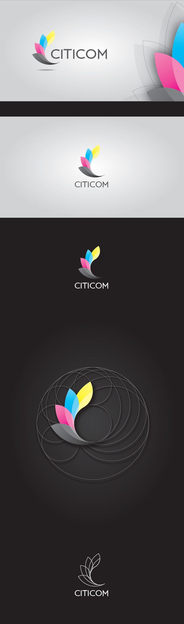 """CITICOM corporate identity concept. Inspired by CMYK colors, flying papers and letter """"C""""."""