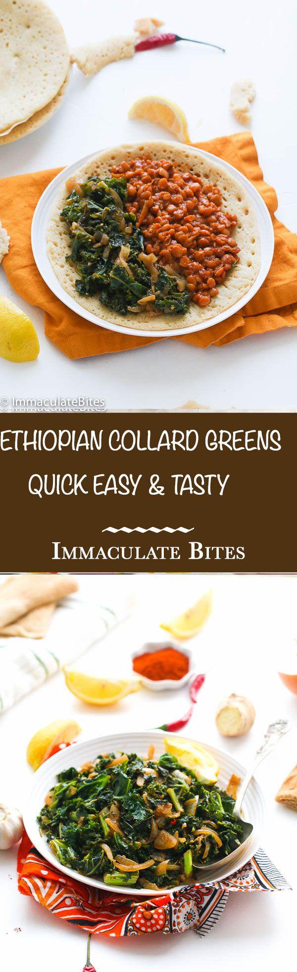 Ethiopian Collard Greens aka Ye'abasha Gomen- Braised collard greens and kale seasoned with aromatics; Quick, easy and tasty.