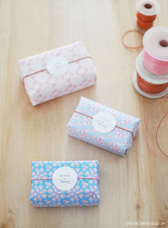 Make these DIY paper wrapped soaps using the Free Printable Geo Hearts Patterned Paper Set available on Creature Comforts Blog