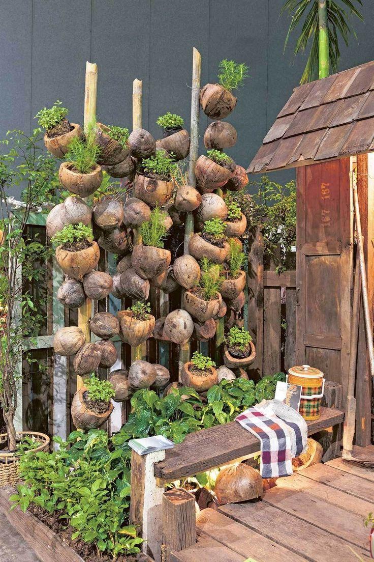Pot of coconut fiber , coconut Fiber gardenlighting