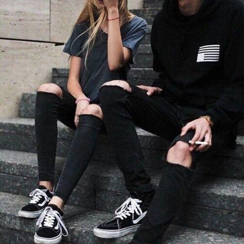 Imagem de couple, black, and style