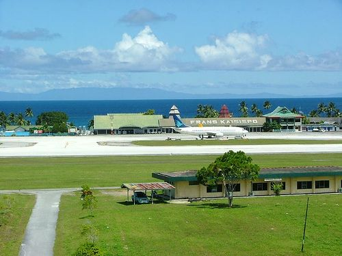 Frans Kaiseipo Airport, Biak.   It is an airport in Biak, Papua, Indonesia. also known as Mokmer Airport
