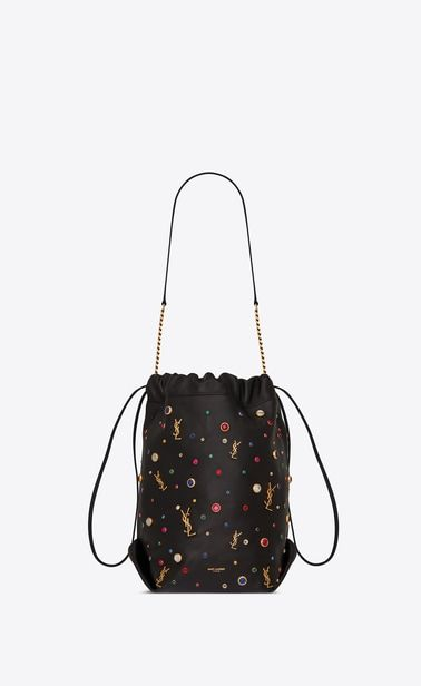 SAINT LAURENT Bucket Bag Woman teddy monogram drawstring bag in leather and  cabochons a V4 7915160d92