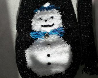 Small Hand knitted red Christmas glittery snowman by CRAFTYOLDDOG