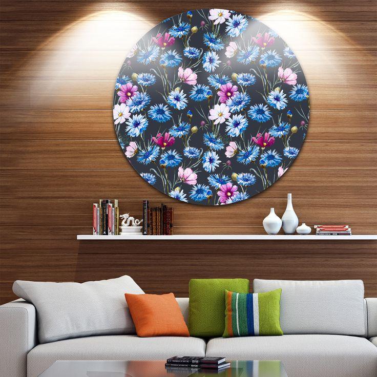 Designart 'Multi-Color Corn Flowers' Floral Round Metal Wall Art
