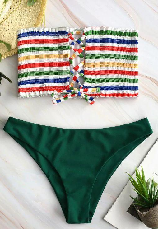 4083b79a986 Lace-up Rainbow Striped Bandeau Bikini Set in 2019 | 2019 Bikinis ...