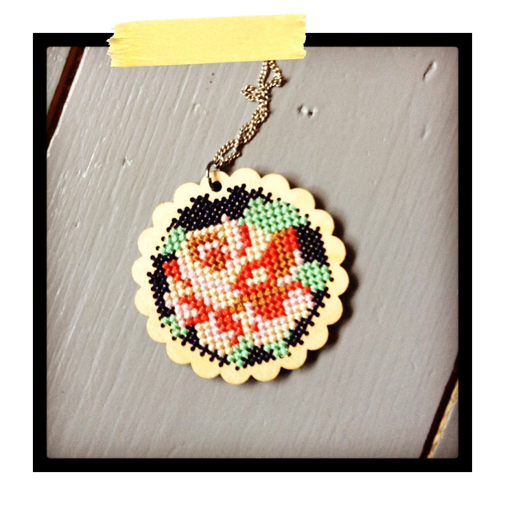 onneke.com wooden cross stitch pendant