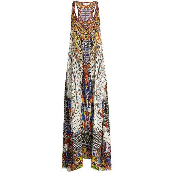 Camilla Echos of Engai-print racer-back silk maxi dress ($550) ❤ liked on Polyvore featuring dresses, multi, print maxi dress, racer back maxi dress, pattern dress, tribal dress and silk dress