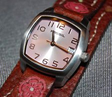 RARE Fossil Women's Brown Leather Flowers Band Pink Square Watch Date NEW BATT!