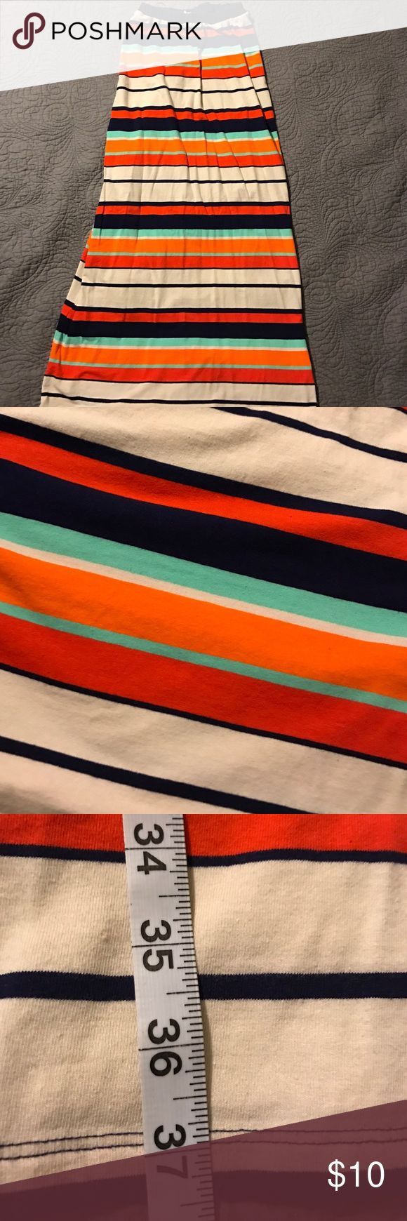 Olive and Oak striped maxi skirt Preppy Olive and Oak maxi with coral, mint, navy & Crete horizontal stripes. Cotton- very soft! Good condition, no imperfections. Measurement shown is from waist to hem. Skirts Maxi