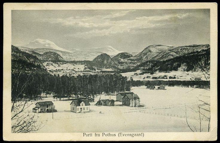 Nordland fylke Saltdal kommune POTHUS (EVENSGAARD). Oversikt med noen gårder. Utg Chr. Andersen, Aalborg Stemplet 1929.