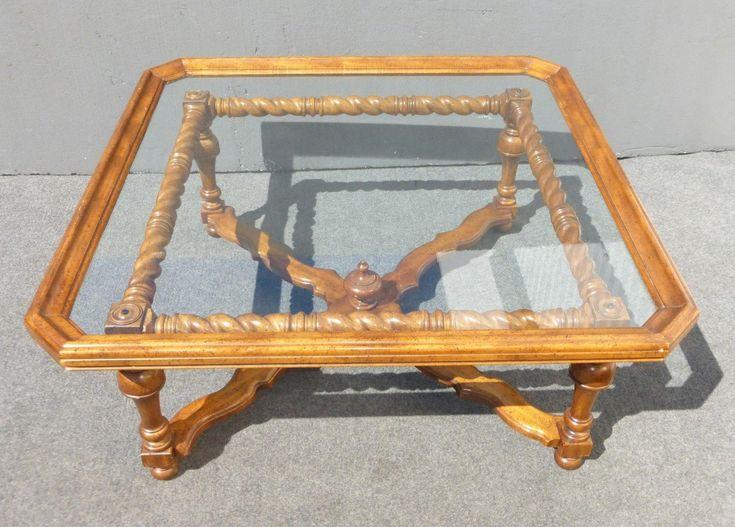 Spanish-Style Scalloped Glass Coffee Table   Chairish