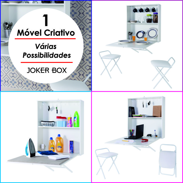 Joker Box - Mesa dobrável de parede. Mesa criativa, excelente para vários ambientes.  Cozinha, copas, quartos, salas, home office, closets, fraldário, lavanderia, garagem, entre outros.