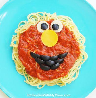 How adorable is this Sesame Street Elmo Spaghetti?!