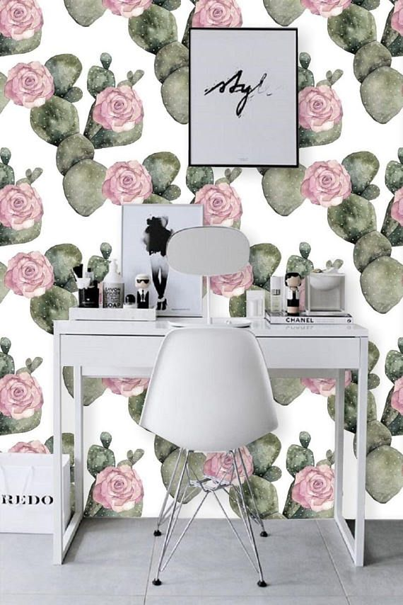 floral cactus wallpaper, removable wallpaper, cactus wall decal, pink floral, jungle wallcovering, large print, wall mural, peel&stick,#123