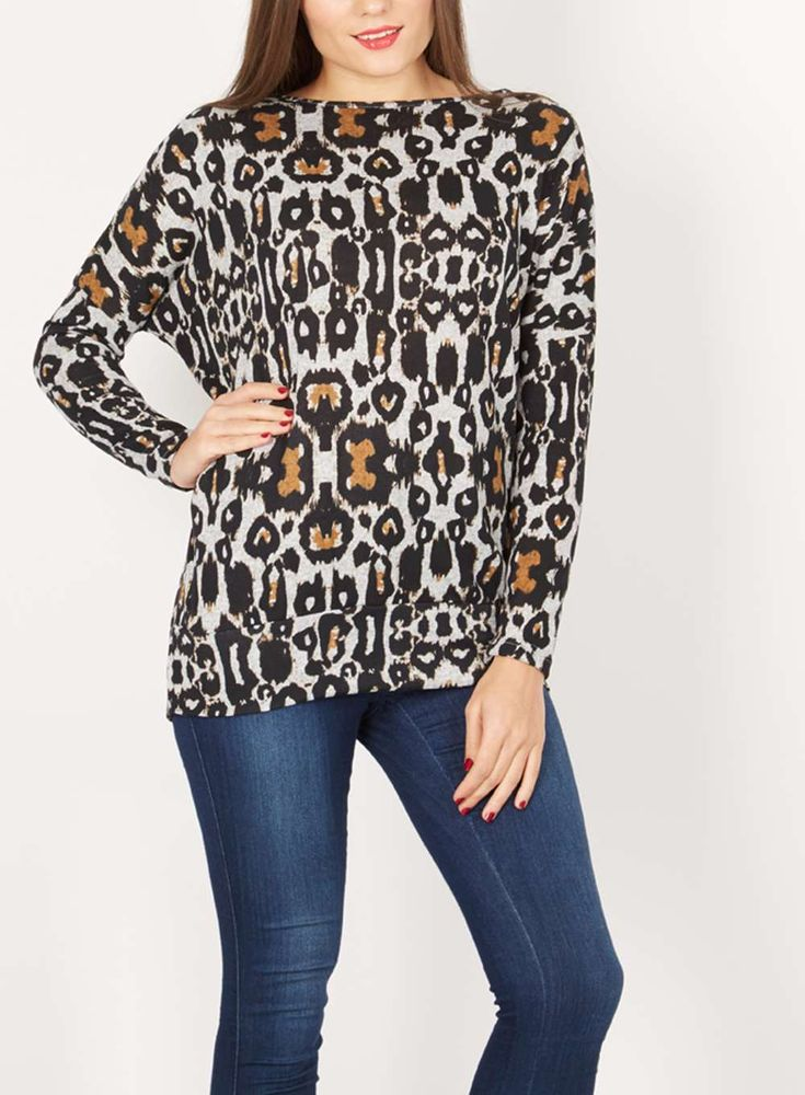*Izabel London Multi Grey Tribal Top - Dorothy Perkins