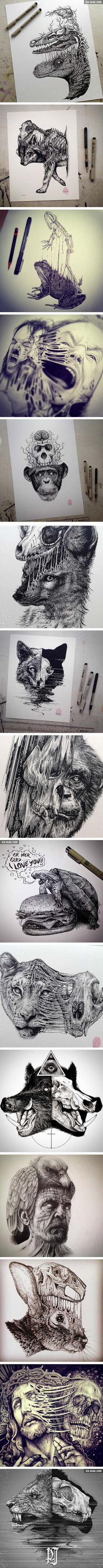 Animals Leave Their Skeletons Behind In These Stunning Dark Drawings (By Paul Jackson)