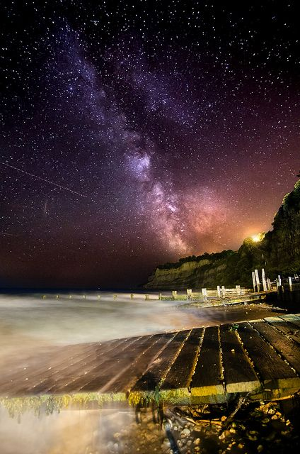 Night Photography #nightphotography Milkyway over Shanklin Chine Beach