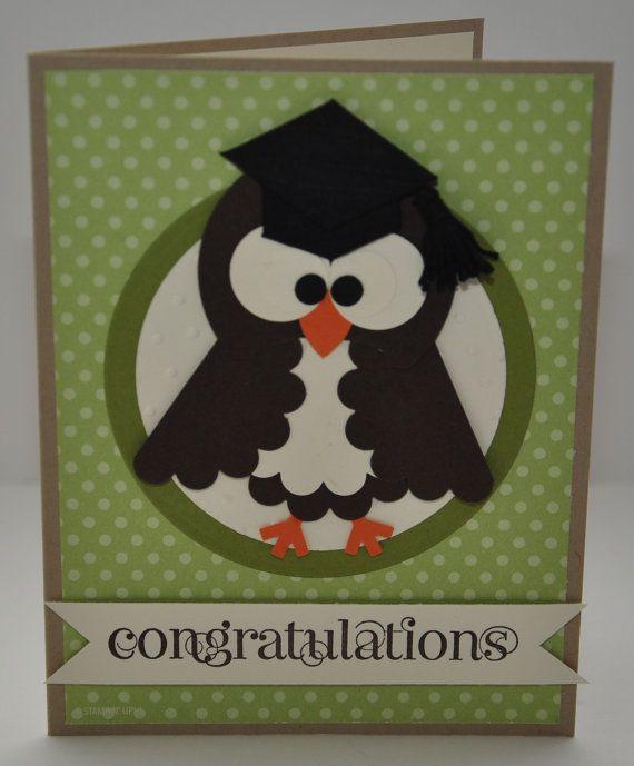 Owl Graduation Greeting Card, Congratulations, Grad Cap, Brown, White, Orange, Green, Polka Dots, School, University, College, Blank Inside on Etsy, $4.00