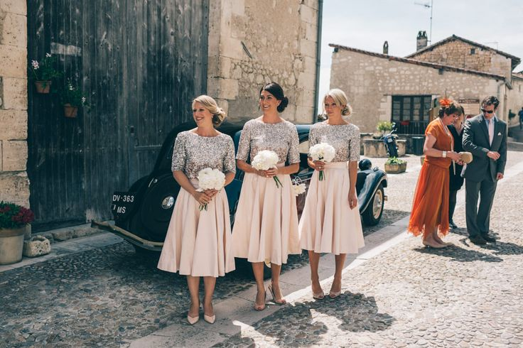 Bridesmaids in Bespoke Blush Skirts & Sequin Coast Tops - Annabel Staff Wedding Photography | Marry Me in France Outdoor French Wedding at Manoir de Longeveau | Limor Rosen Wedding Dress | Coast Blush Sequin Top & Bespoke Skirt Bridesmaid Separates | Ted Baker Navy Suit