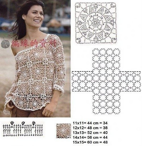 Crochet blouse chart pattern