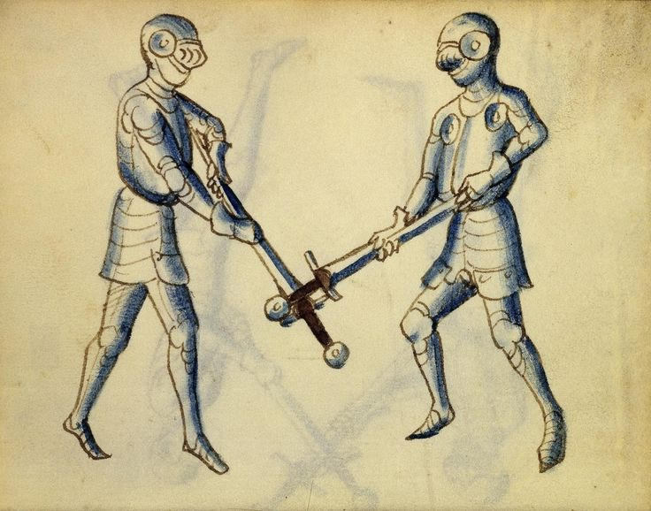 Cod. 11093, 26v: Book on Swordsmanship and Wrestling, mid-15th c. Austrian National Library, Public Domain