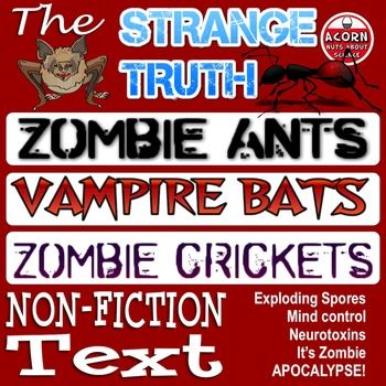 No-prep science reading perfect for Halloween! Trouble finding suitable Halloween science resources? Here are 3 great science reading articles that are perfect for Halloween. They also make great science sub plans for that unexpected emergency.Zombie ants, zombie crickets, mind control, neurotoxins, mind control, bloodthirsty vampire bats, what's not to like?