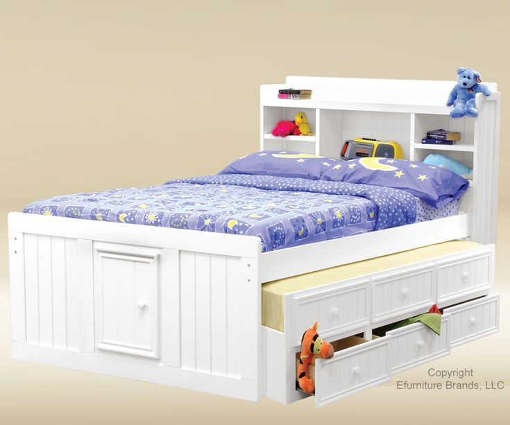 Good Trading White Finish Full Size Captains Trundle Bed