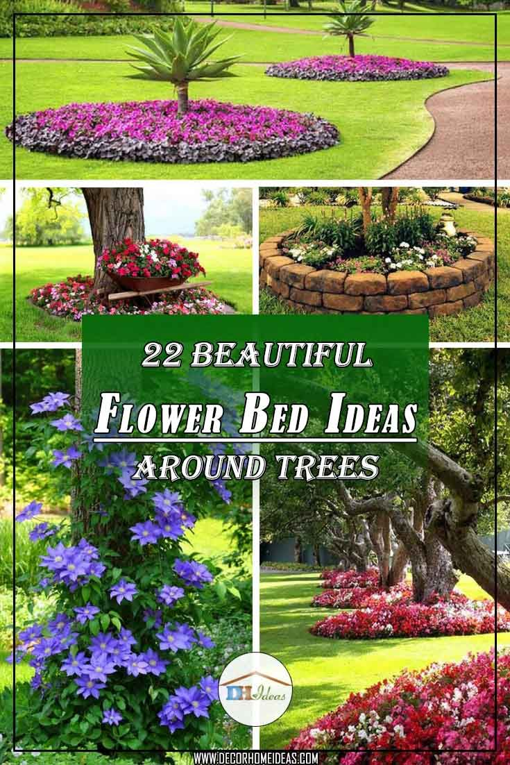 22 beautiful flower beds around trees | gardening | flower beds