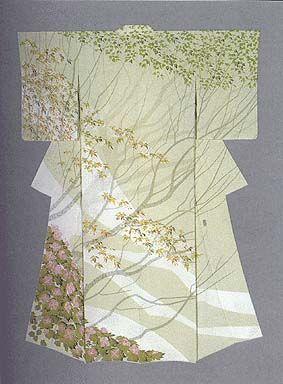 "Formal Kimono with yuzen-zome design ""Bloomong in the Remaining Snow"" by Tajima Hiroshi, Japanese National Living Treasure"
