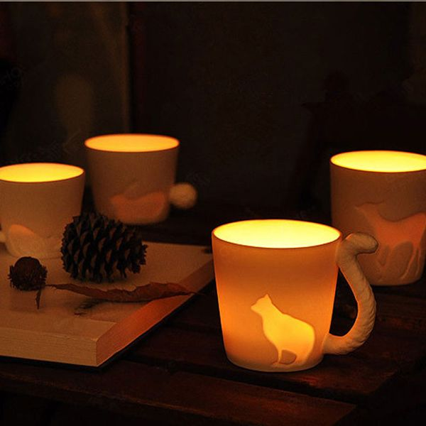Creative Fairy Tale Forest Animal Cup Ceramic Frosted Mug Coffee Cup Menorah Candle Cup